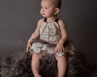 Boho Halter Tutu Romper - Cream circles with feathers and tulle,  Sizes 000 to 3