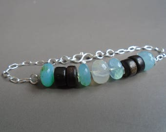 Ebony, Opal bracelet Peruvian and silver solid nature jewelry