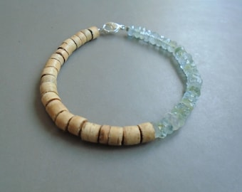 Aquamarine bracelet, Coco and sterling silver / / nature jewelry