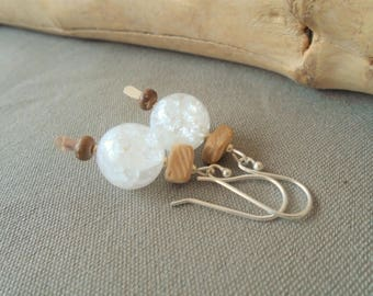 Quartz, coconut, and Sterling Silver earrings / / nature jewelry