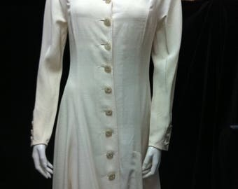 1990s Long Christian Dior Cream Dress-Coat Robe-Manteau Special Formal Occasion