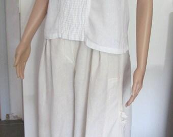 Shabby white linen blouse