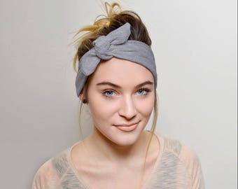 Grey adult headband, headbands for women, Top Knot Headband Adult Women's Hair Accessories