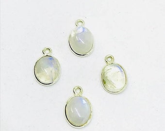 10% Freeform rainbow moonstone sterling silver 925 connector charms. 8x10mm oval. Genuine natural fascited moonstone stones. Nice blue flash