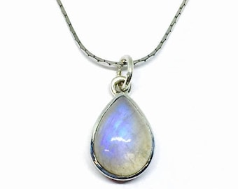 10% Rainbow Moonstone Pendant/ necklaces set in Sterling silver 925. Natural authentic moonstone. Length - .90 inch