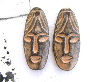 Earrings Beads - face beads, ceramic beads, tribal beads, crafted, primitive beads, craft beads, jewelry making beading, focal beads, charms