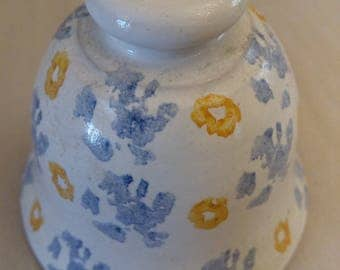 decorative hand-painted ceramic Bell, glazed inside and outside, 6 x 6 cm diameter