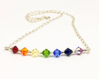 Rainbow Swarovski necklace - sterling silver curb chain - Chakra necklace - Boho necklace - Pride