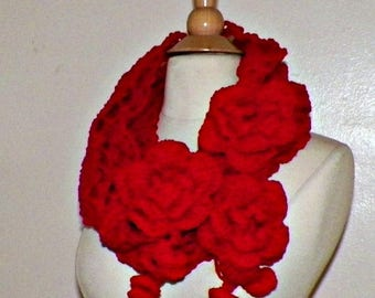 On Sale- Infinity Scarf Cowl Red Traditional Irish Lace Circle  Mesh Chunky Neckwarmer Winter With Flower Brooch Long