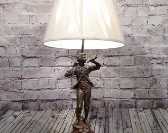 Vintage Male Figurine Lamp Fixture With Lamp Shade Rewired