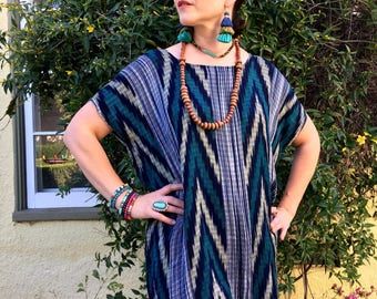 Beautiful Guatemalan Hand-loomed Tunic with Fringe Detail Made with 100% Cotton and Natural Dyes