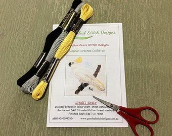Australian fauna cross stitch chart - Sulphur Crested Cockatoo.  PDF instant download