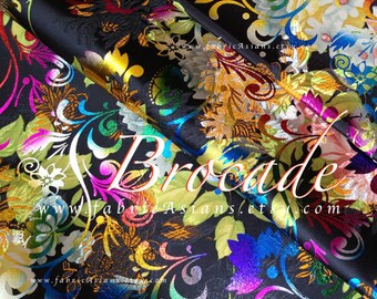 Colorful floral Brocade Fabric by the yard