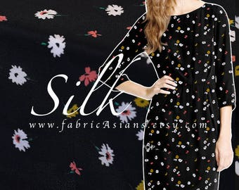 Tana Lawn Black Silk Crepe by the yard