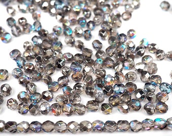 Crystal Graphite Rainbow coated Preciosa Czech Fire Polished Round Faceted Glass Beads in sizes 3mm, 4mm and 6mm, Gray with AB