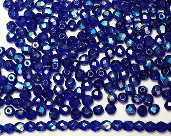 300 Cobalt Blue AB coated 6mm, Preciosa Czech Fire Polished Round Faceted Glass Beads, Czech Glass Fire Polish Beads, loose blue beads