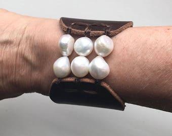 leather cuff bracelet - birthstone bracelet - anniversary gift for her - freshwater pearl bracelet - stretch bracelet for women - birthday