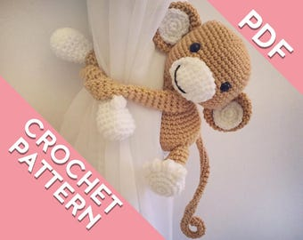 Curtain tie back crochet monkey PATTERN , tieback, left or right side crochet pattern PDF instant download PATTERN