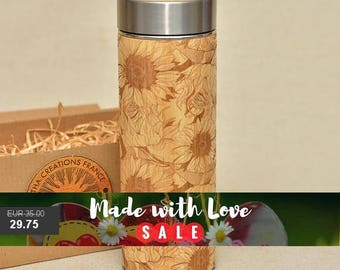 Original Bamboo Thermos Wooden Flask 380 ml Engraved Wood SUNFLOWERS Stainless Steel with Screw Lid