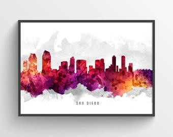 San Diego Skyline Poster, San Diego Cityscape, San Diego Art, San Diego Decor, San Diego Print, Home Decor, Gift Idea, USCASD14P