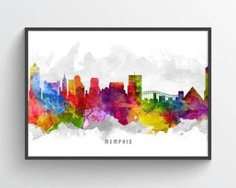 Memphis Skyline Poster, Memphis Cityscape, Memphis Art, Memphis Decor, Memphis Print, Home Decor, Gift Idea, USTNME13P