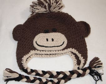 kids crochet hat childs sz 3-4 BROWN MONKEY Crochet Hat   h14