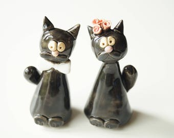Cat Cake Topper, Cat Couple, Black Cat, Wedding Cake Topper, Married Couple, Wedding Gift, Ceramic Cake Topper by Her Moments
