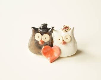 Owl Wedding Cake Topper, Ceramic Owls, Unique wedding cake topper