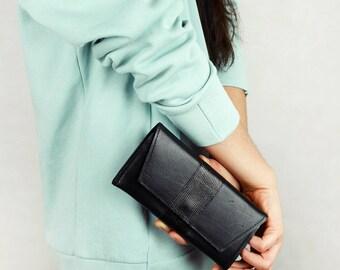 Black Leather Wallet, Clutch Wallet,  genuine leather