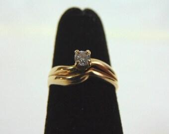 Vintage Estate Women's 14K Yellow Gold, Solitaire Diamond Engagement Ring, 2.2g E3235