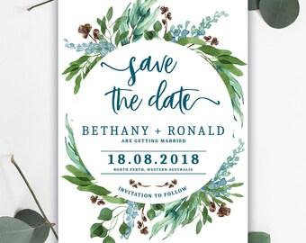 Beautiful Leafy Save the Date - Digital File