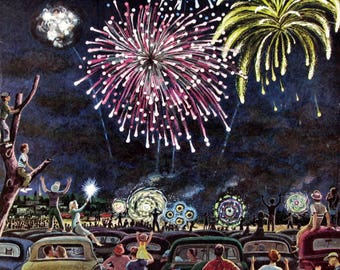 1953 Fireworks Display on 4th of July - Benjamin Prins Art - Retro 1950's Saturday Evening Post Magazine Cover