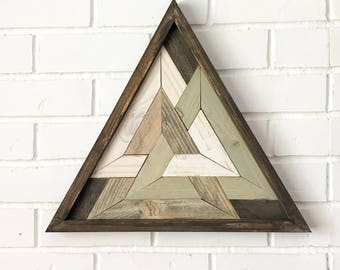 Holy Triangle Reclaimed Wooden Triangle Art Design Meditation Sacred Geometry Odins Triangle Reclaimed Wooden Art