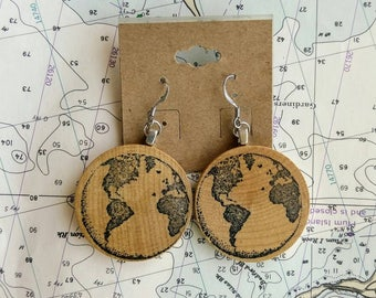 World Map Earrings made from Vintage Wooden Nickels, Travel Jewelry, Vintage Map Dangle Earrings for Her
