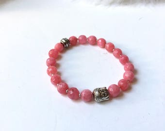 Dyed pink jade bracelet and silver metal Buddha head