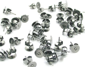 6mm Stainless Steel Earring Posts, Surgical Steel Flat Pad Stud Findings, DIY Jewelry Making S151