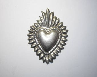 Flaming Sacred Heart Ex Voto Exceptional Sterling Silver Milagro 1920-40 Large Size