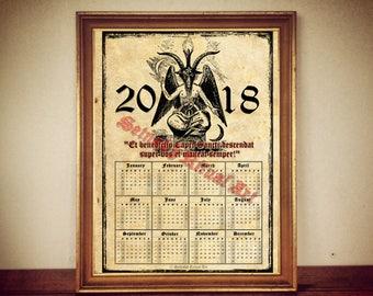 2017 Calendar with Baphomet, occult calendar, magic, mystic decor, occult print, occult poster, magic decor, magic print, magic poster