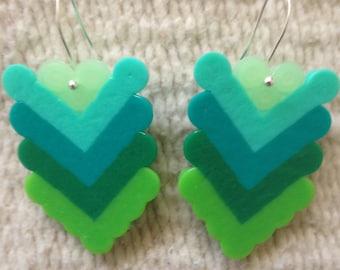 Green Arrow Earrings w/ Glow in the Dark Heart