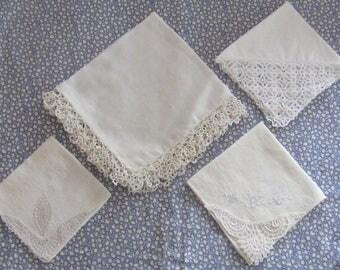 Four Extraordinarily Gorgeous Vintage Hand-Lacework Handkerchiefs