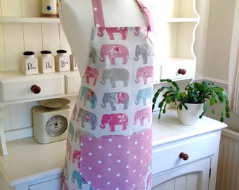 Apron, Elephants & Pink Dotty Apron, Elephants Apron, Ladies Adjustable Apron, Full Apron, Womens Apron, Mother and Daughter Gift, Baking