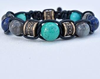 Bracelet labradorite turquoise lapis lazuli-top of range