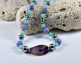 Silver hematite, jade green and purple-2017 agate necklace