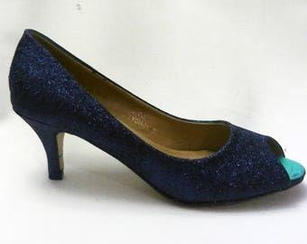 Glitter Heels Navy Wedding Shoes Sparkle Sparkly