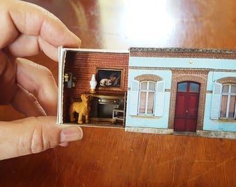 Large Matchbox House: Miniature Study inside a Matchbox