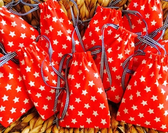 Sewing Kit for 10 bags white stars on red background
