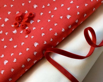 Kit sewing soft, 2 cut 50 cm * 50 cm, snaps and matching Ribbon