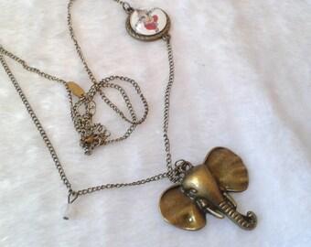 Metal necklace, bronze Ganesh elephant