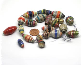 Multicolor paper beads Stripes, Eco-friendly, Destash, Craft supplies, Boho chic components, Jewelry supplies, DIY Gift