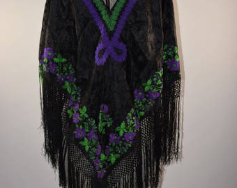 Antique Victorian black silk piano shawl scarf wrap cape long fringe purple green embroidery shrug shoulder wrap 1880s 1890s mourning AS IS